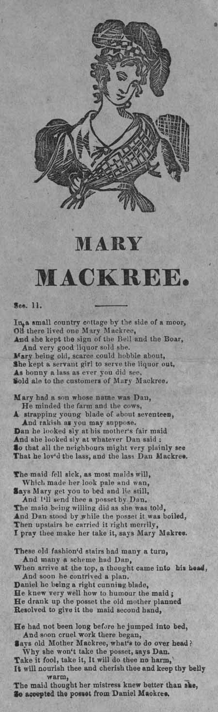 Broadside ballad entitled 'Mary Mackree'