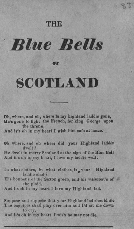 Broadside ballad entitled 'The Blue Bells of Scotland'