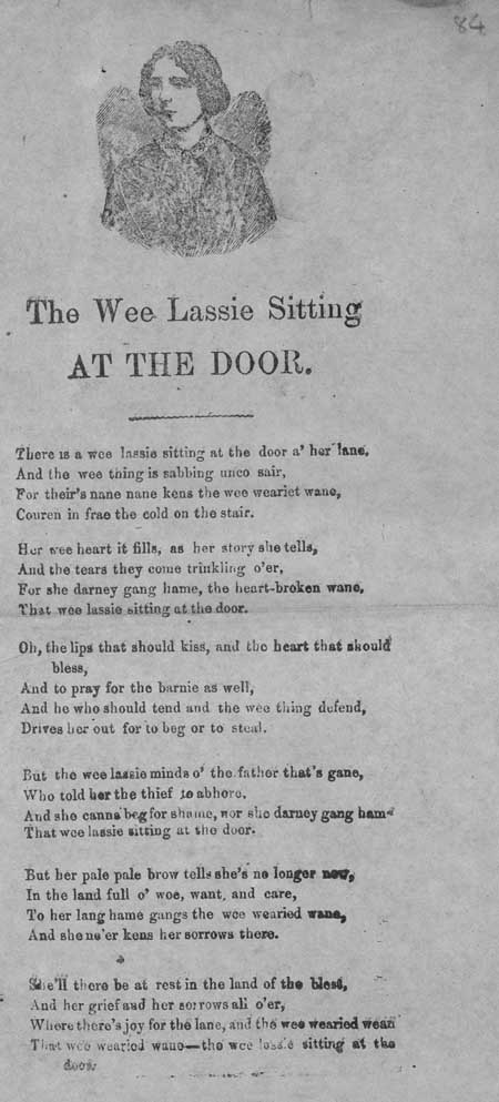 Broadside ballad entitled 'The Wee Lassie Sitting at the Door'