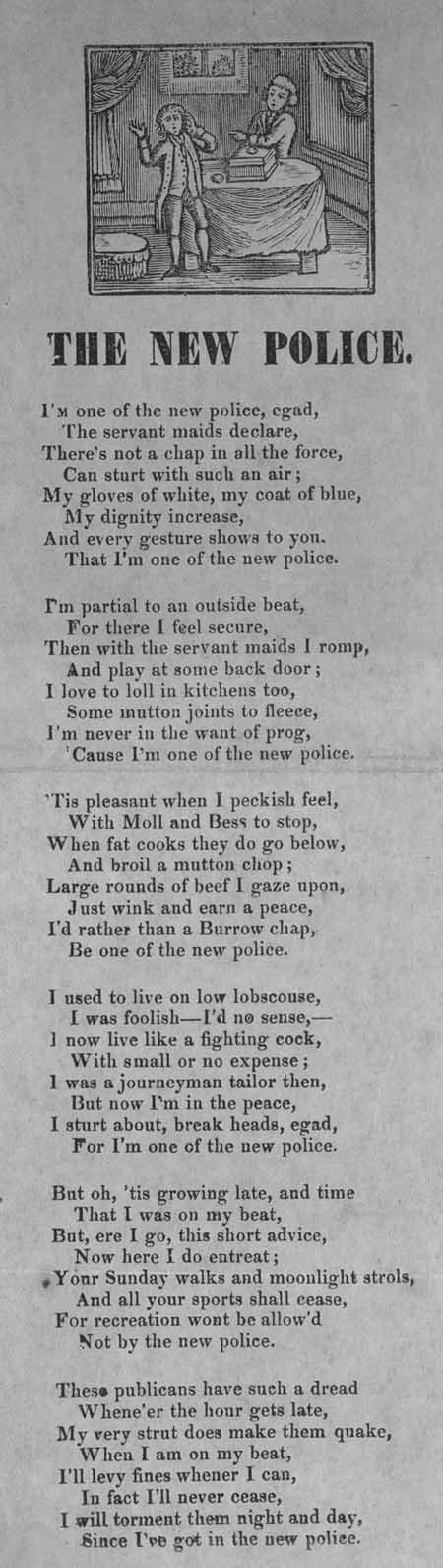 Broadside ballad entitled 'The New Police'