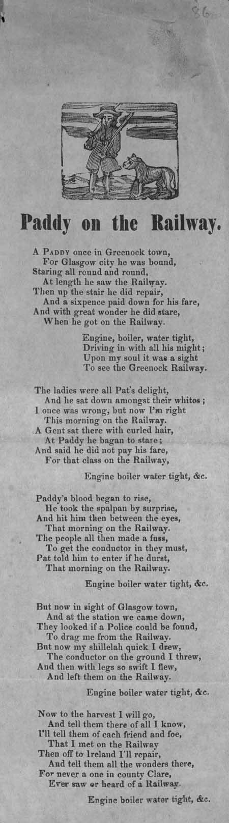 Broadside ballad entitled 'Paddy on the Railway'