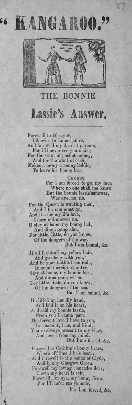 Broadside ballad entitled 'The Bonnie Lassie's Answer'