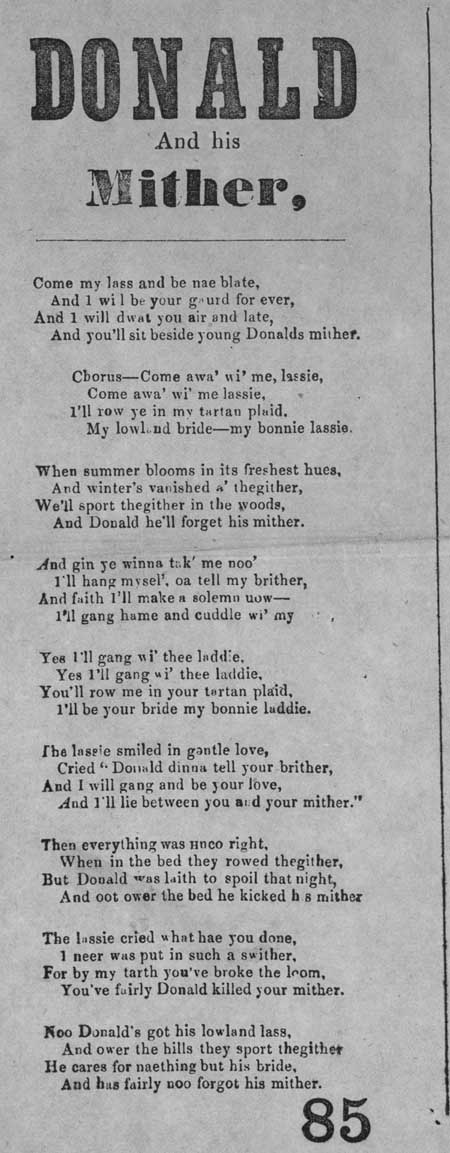 Broadside ballad entitled 'Donald and his Mither'