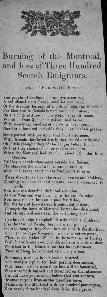 Broadside ballad entitled 'Burning of the Montreal and loss of Three Hundred Scotch Emigrants'