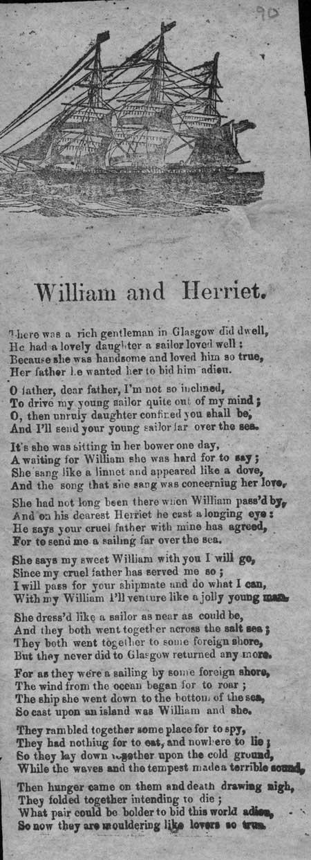 Broadside ballad entitled 'William and Herriet'