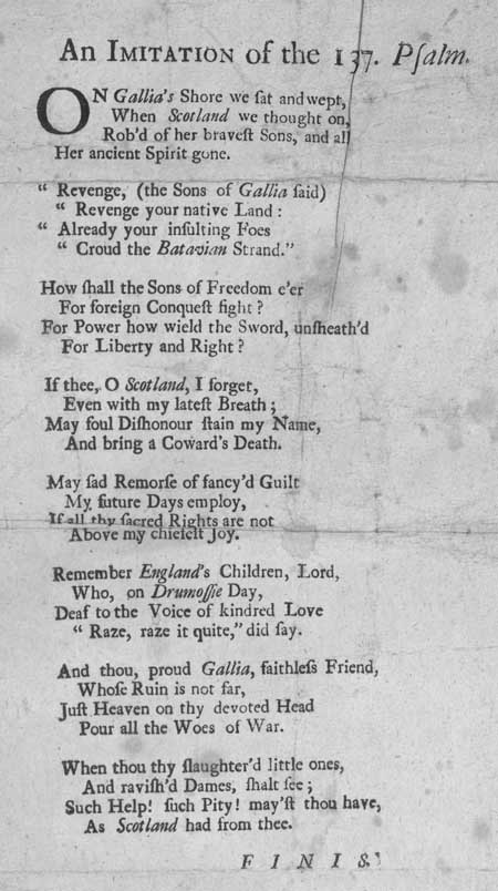 Broadside entitled 'An Imitation of the 137 Psalm'