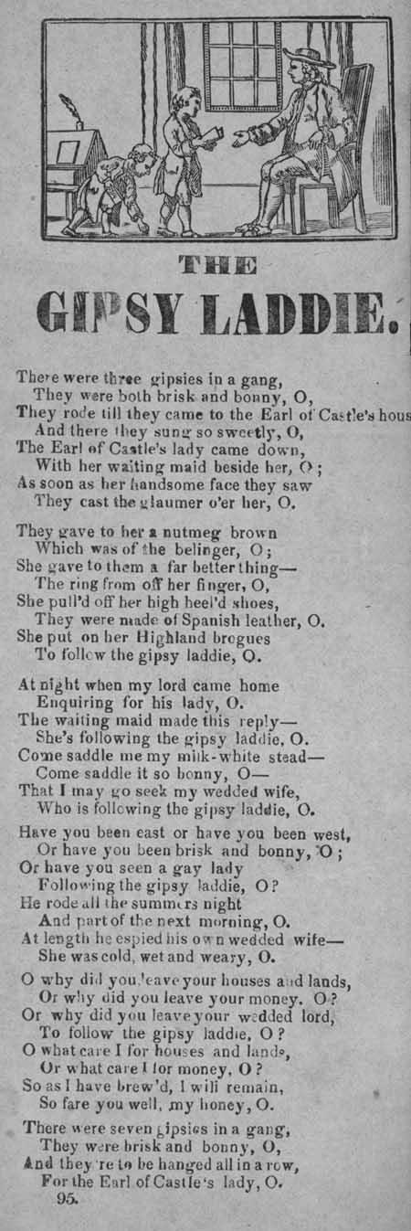 Broadside ballad entitled 'The Gipsy Laddie'