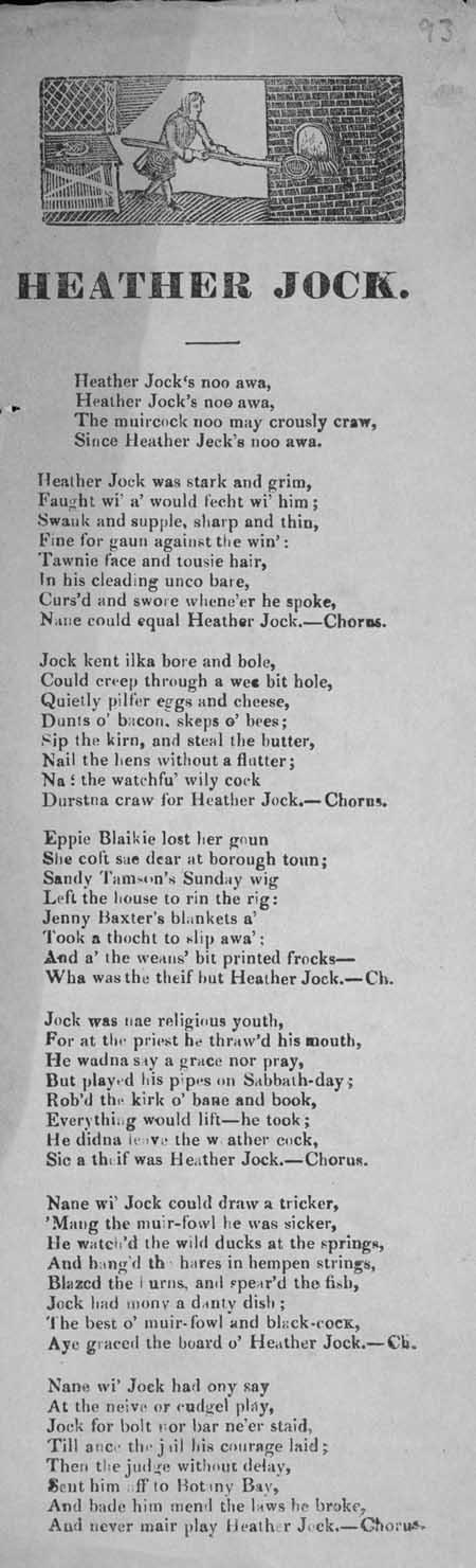 Broadside ballad entitled 'Heather Jock'