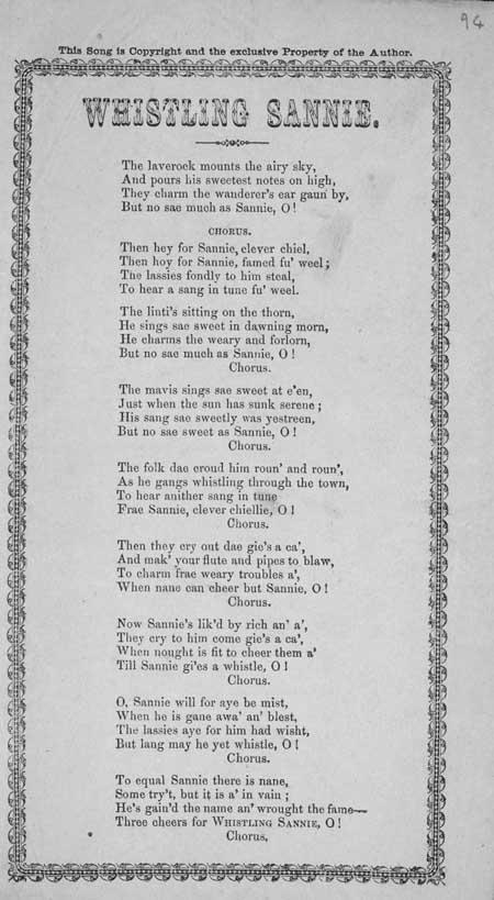 Broadside ballad entitled 'Whistling Sannie'