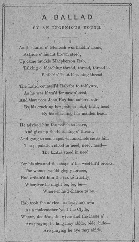 Broadside entitled 'A Ballad by an Ingenious Youth'
