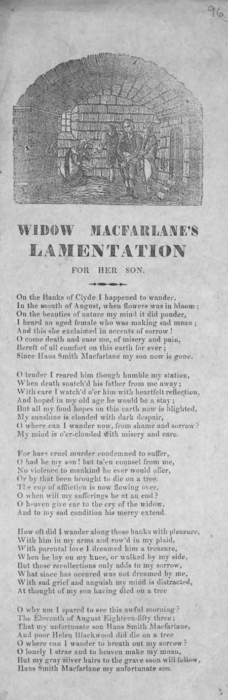 Broadside ballad entitled 'Widow MacFarlane's Lamentation for Her Son'