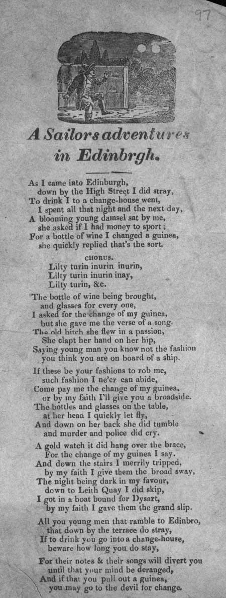 Broadside ballad entitled 'A Sailors Adventures in Edinburgh'