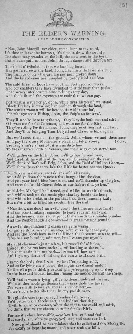 Broadside ballad entitled 'The Elder's Warning, A Lay of the Convocation'