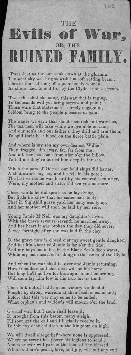 Broadside ballad entitled 'The Evils of War Or, The Ruined Family'