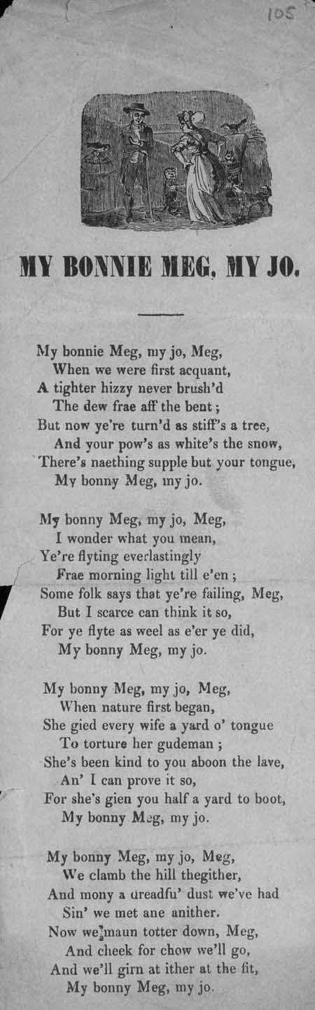Broadside ballad entitled 'My Bonnie Meg, My Jo'