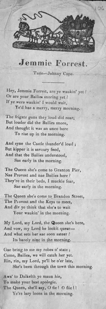 Broadside ballad entitled 'Jemmie Forrest'