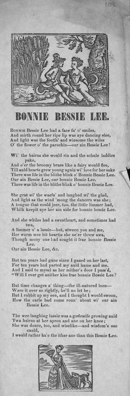 Broadside ballad entitled 'Bonnie Bessie Lee'