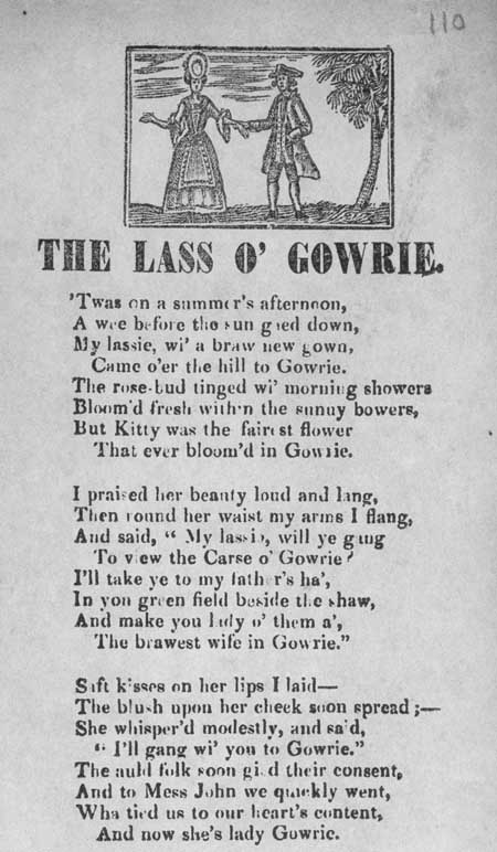 Broadside ballad entitled 'The Lass o' Gowrie'