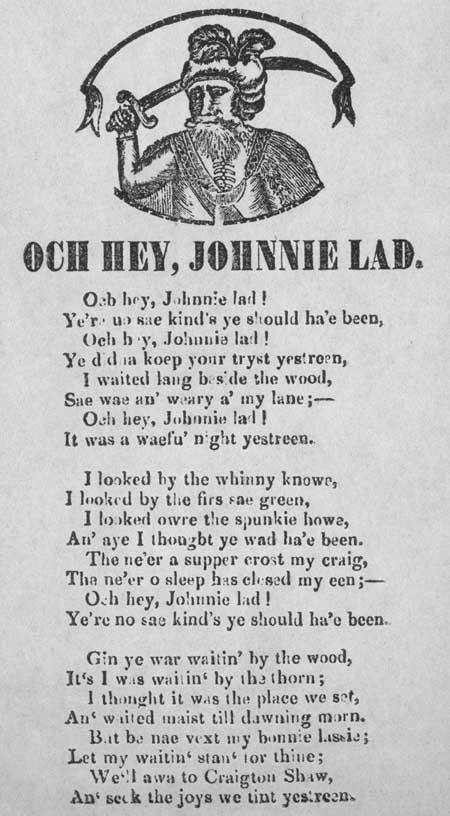 Broadside ballad entitled 'Och Hey, Johnnie Lad'