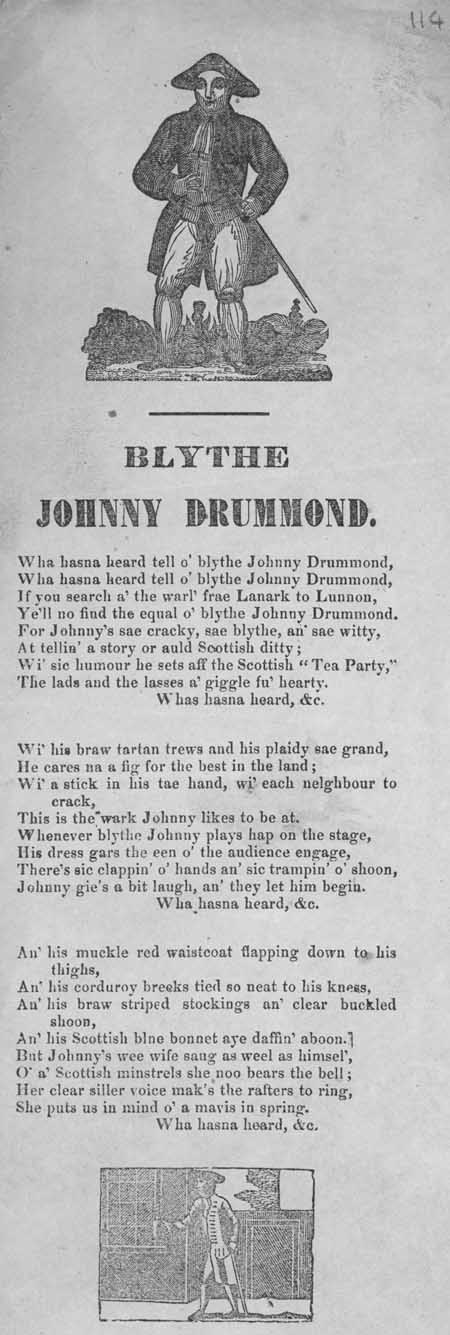 Broadside ballad entitled 'Blythe Johnny Drummond'