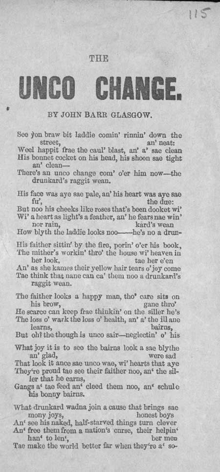 Broadside ballad entitled 'The Unco Change'