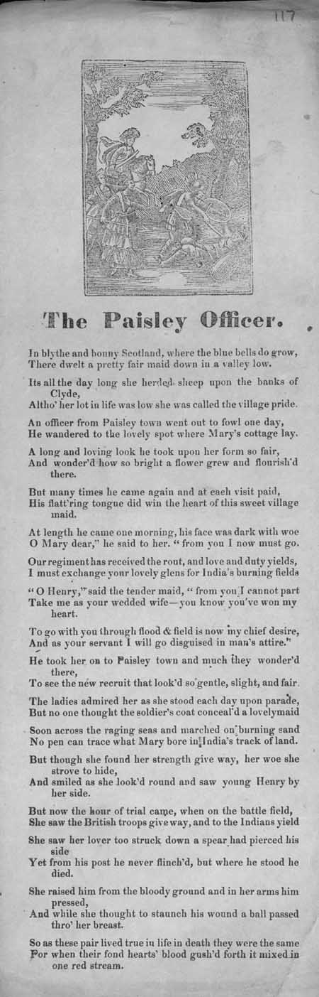 Broadside ballad entitled 'The Paisley Officer'