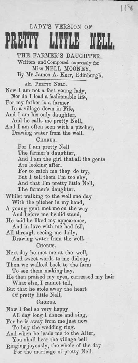 Broadside ballad entitled 'Pretty Little Nell'