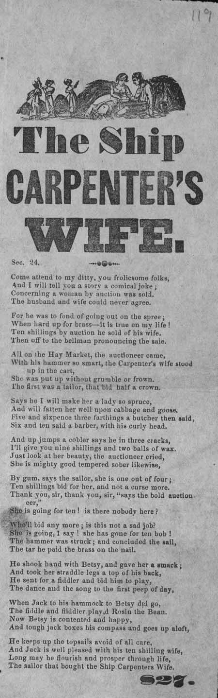 Broadside ballad entitled 'The Ship Carpenter's Wife'