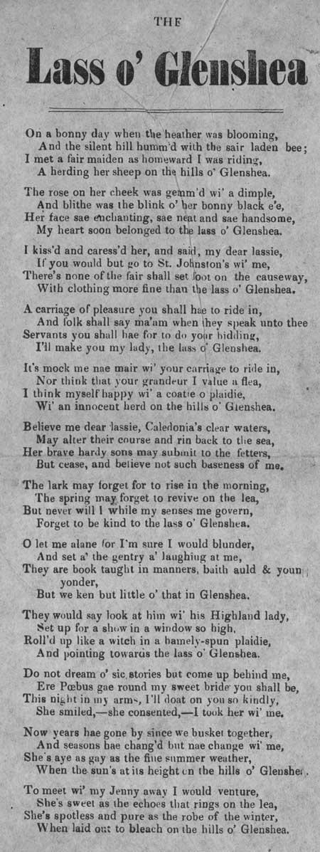 Broadside ballad entitled 'The Lass o' Glenshea'