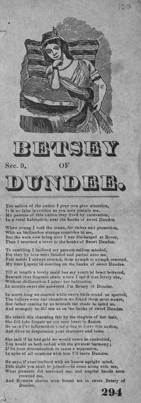 Broadside ballad entitled 'Betsey of Dundee'