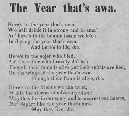 Broadside ballad entitled 'The Year that's awa'