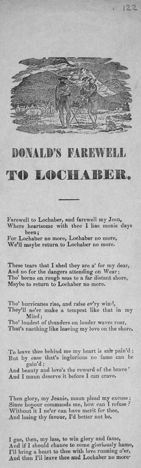 Broadside ballad entitled 'Donald's Farewell to Lochaber'