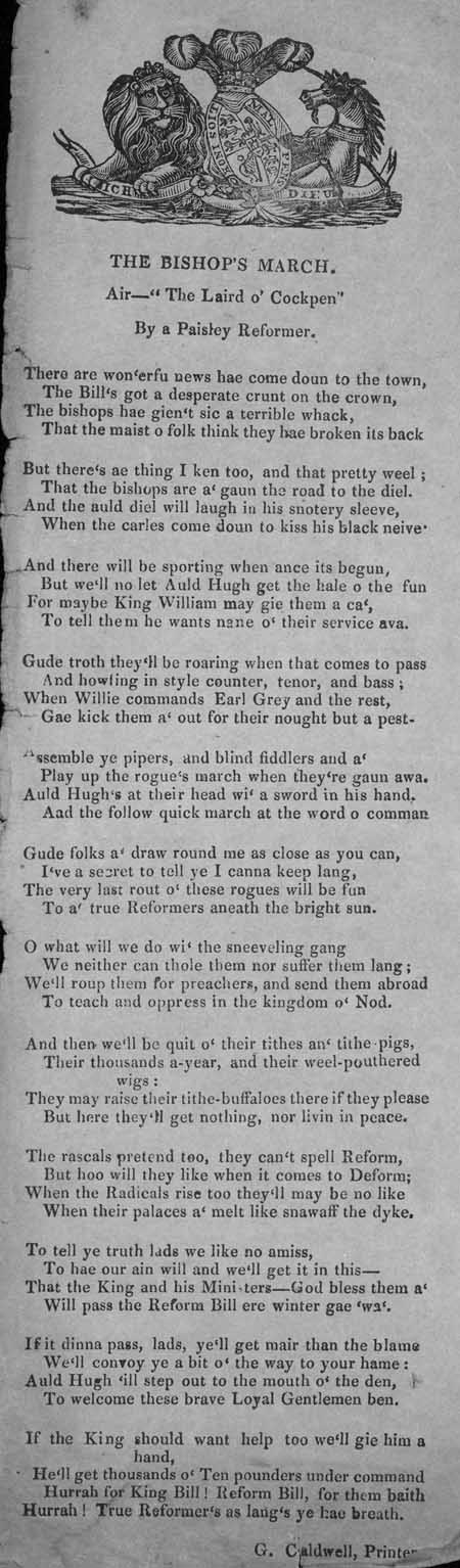 Broadside ballad entitled 'The Bishop's March'