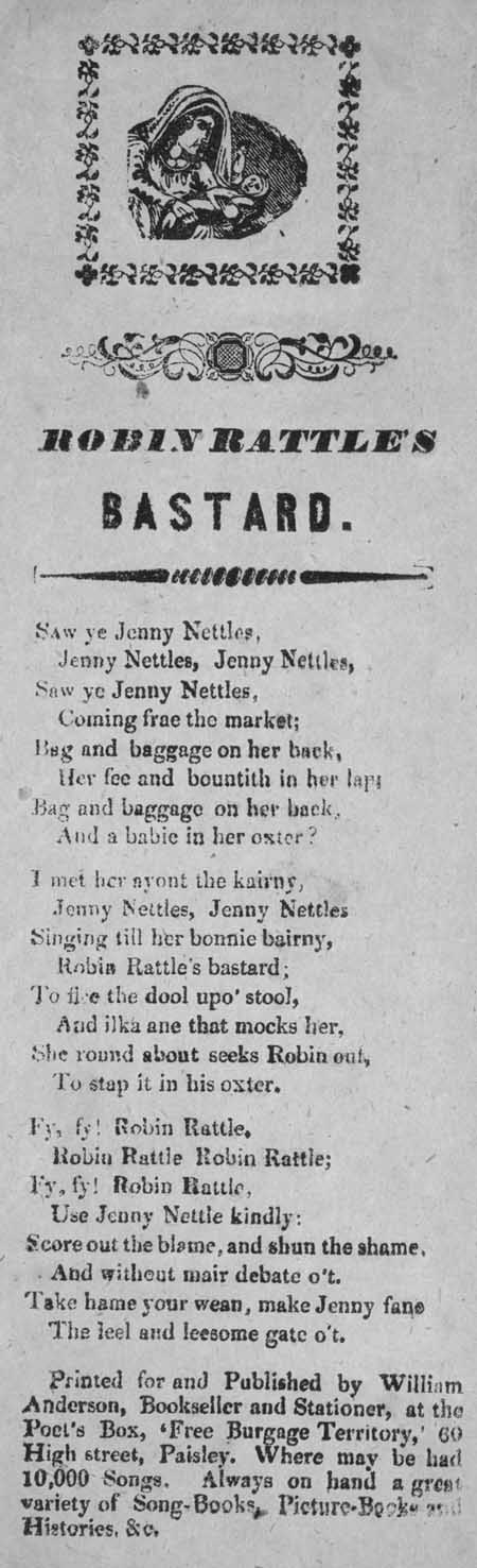 Broadside ballad entitled 'Robin Rattle's Bastard'