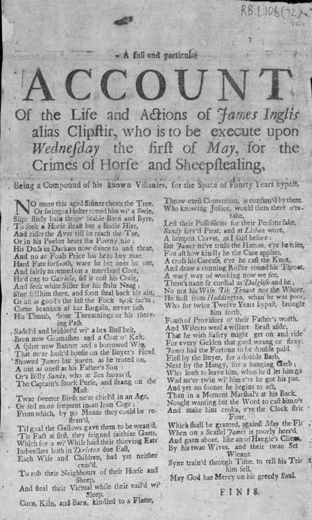 Broadside ballad concerning the life of James Inglis or Clipstir, who was executed for horse and sheep stealing