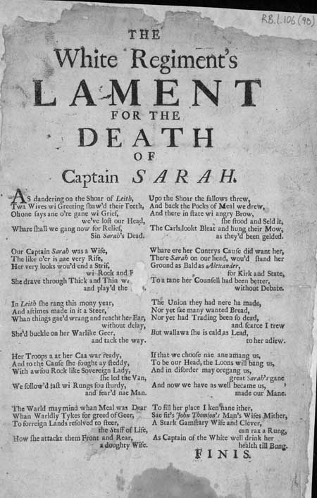Broadside entitled 'The White Regiment's Lament for the Death of Captain Sarah'