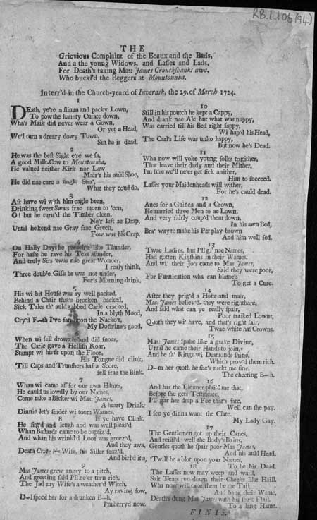 Broadside regarding the complaints of the 'Beaux and the Bads'