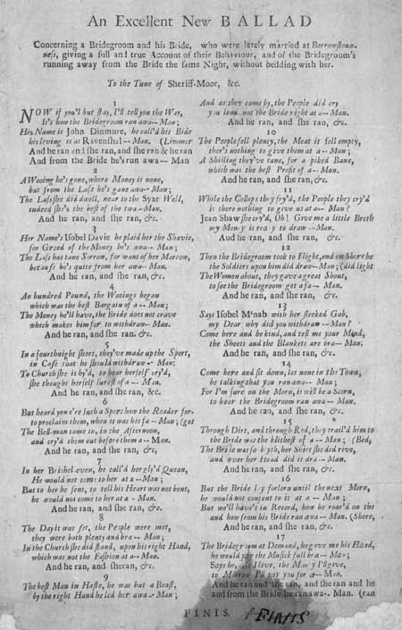 Broadside ballad concerning a bride and bridegroom