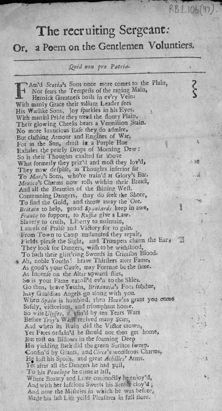 Broadside ballad entitled 'The recruiting Sergeant: Or, a Poem on the Gentleman Voluntiers'