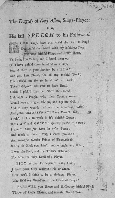 Broadside ballad entitled 'The Tragedy of Tony Aston, Stage-Player: or, His Last Speech to his Followers'
