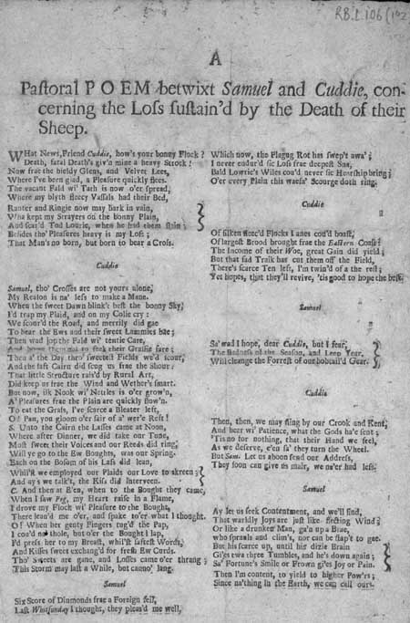 Broadside ballad entitled 'A Pastoral Poem betwixt Samuel and Cuddie'
