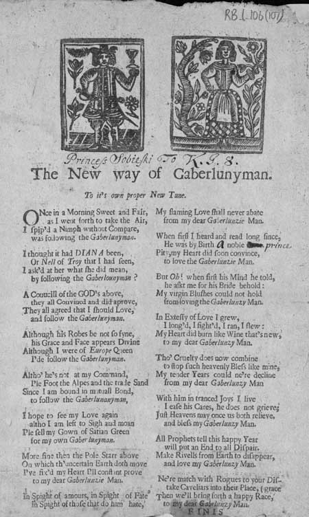 Broadside ballad entitled 'The New Way of Gaberlunyman'