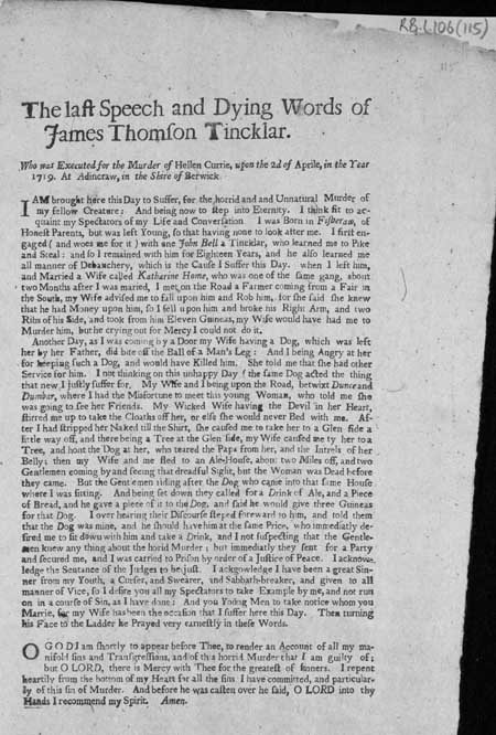 Broadside entitled 'The Last Speech and Dying Words of James Thomson Tincklar'