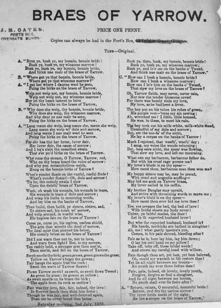 Broadside ballad entitled 'Braes of Yarrow'