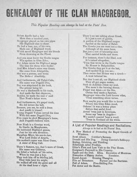 Broadside ballad entitled 'Genealogy of the Clan MacGregor'