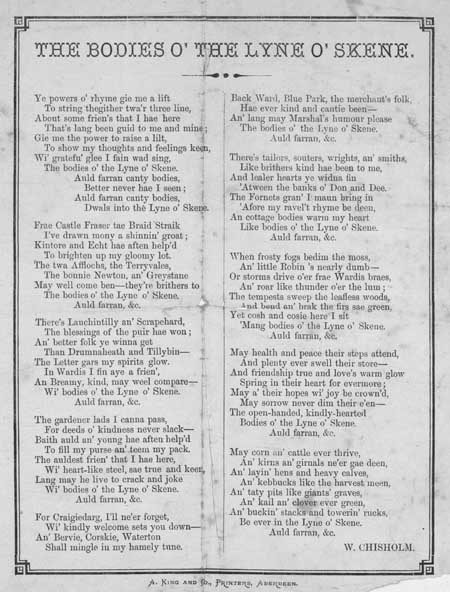 Broadside ballad entitled 'The bodies o' the Lyne o' Skene'