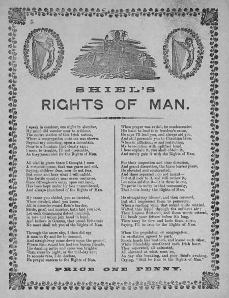 Broadside ballad entitled 'Shiel's Rights of Man'