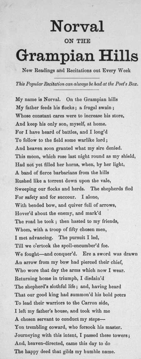 Broadside ballad entitled 'Norval on the Grampian Hills'