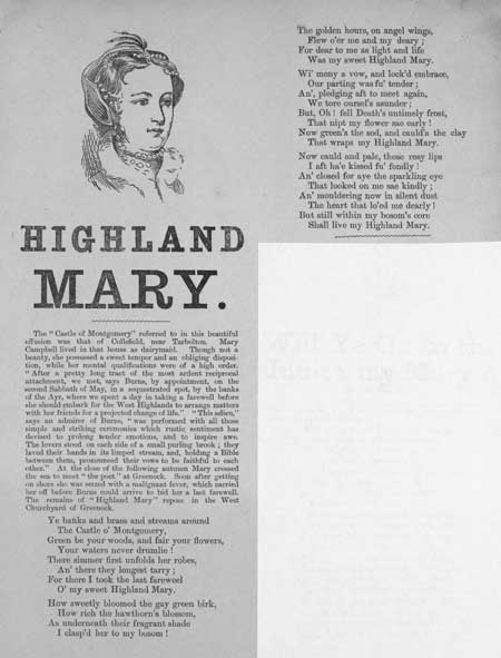 Broadside ballad entitled 'Highland Mary'