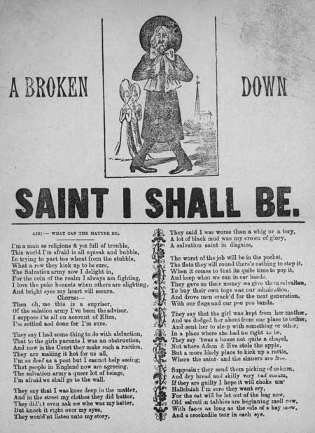 Broadside ballad entitled 'A Broken Down Saint I Shall Be'